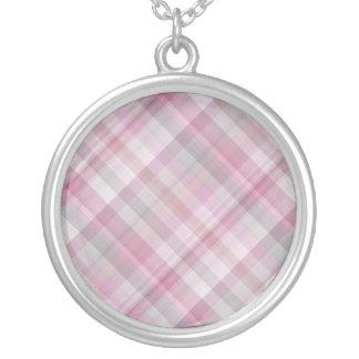 Modelo diagonal del rosa y blanco de la tela escoc colgante redondo