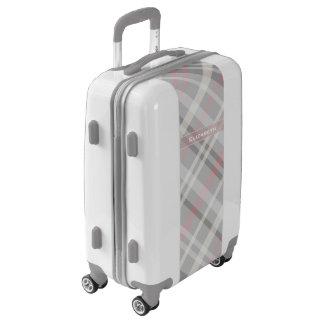 modelo diagonal gris y rosado de la tela escocesa maletas