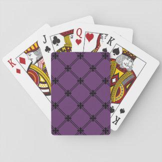 Modelo diagonal negro y púrpura del gótico barajas de cartas
