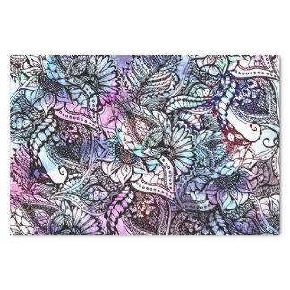 Modelo dibujado mano floral azul púrpura de la papel de seda pequeño