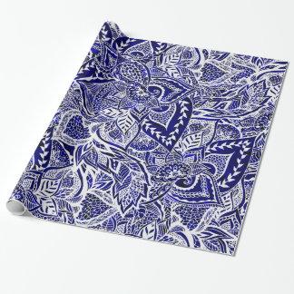 Modelo dibujado mano floral moderna del añil de papel de regalo