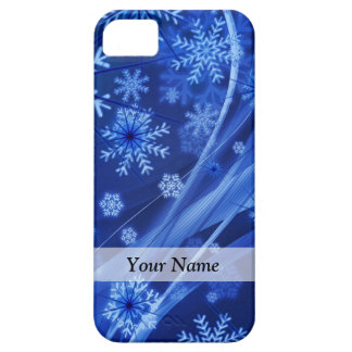 Modelo digital azul del copo de nieve iPhone 5 fundas