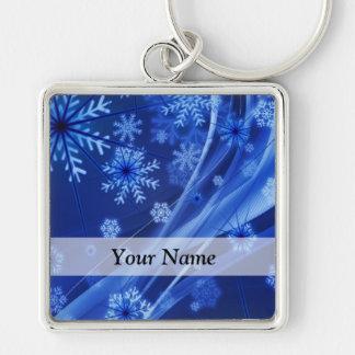 Modelo digital azul del copo de nieve llavero personalizado