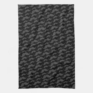 Modelo divertido de moda gris y negro del bigote toalla de mano