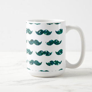 Modelo divertido del bigote del brillo de la taza de café