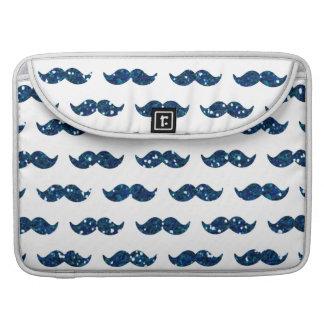 Modelo divertido del bigote del brillo de los azul fundas para macbook pro