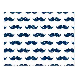 Modelo divertido del bigote del brillo de los azul postales
