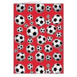 Modelo divertido rojo del balón de fútbol tarjeta pequeña
