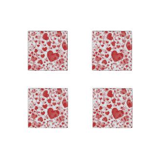 Modelo divertido VII del corazón - blanco rojo Imán De Piedra