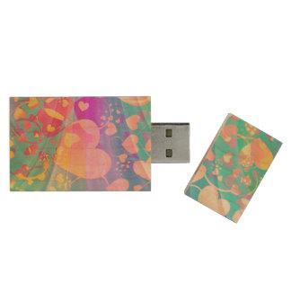 Modelo divertido XI del corazón - pastel coloreado Pen Drive De Madera USB 2.0