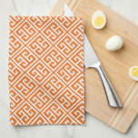 Modelo dominante griego anaranjado de la mandarina toallas de cocina