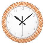 Modelo dominante griego anaranjado de la mandarina reloj de pared