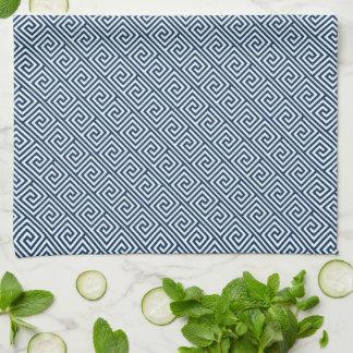 Modelo dominante griego azul marino toallas de cocina