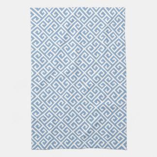 Modelo dominante griego azul y blanco toalla de cocina