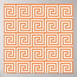 Modelo dominante griego blanco anaranjado de la impresiones