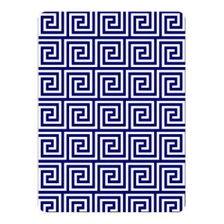 Modelo dominante griego blanco de los azules invitación 13,9 x 19,0 cm