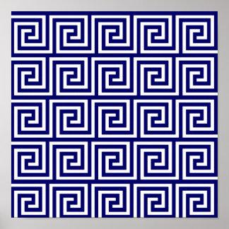 Modelo dominante griego blanco de los azules posters