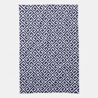 Modelo dominante griego del azul marino y blanco toalla