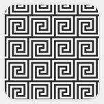 Modelo dominante griego gráfico blanco y negro calcomania cuadrada personalizada