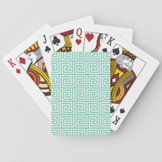 Modelo dominante griego verde y blanco del lucite barajas de cartas