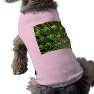 Modelo dramático elegante del plumaje del pavo rea camiseta de perrito