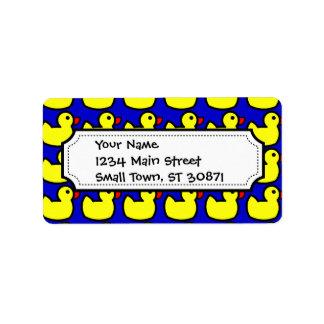 Modelo Ducky de goma amarillo brillante lindo en a Etiqueta De Dirección