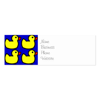 Modelo Ducky de goma amarillo brillante lindo en Tarjetas De Visita Mini