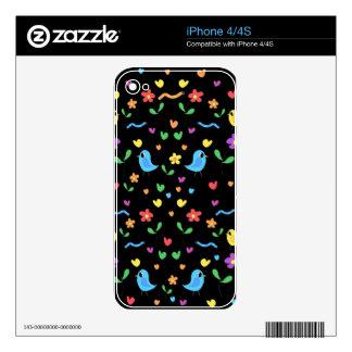 Modelo dulce de los pájaros y de flores skins para eliPhone 4S