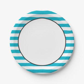Modelo el | de la raya azul y color del blanco el plato de papel de 7 pulgadas