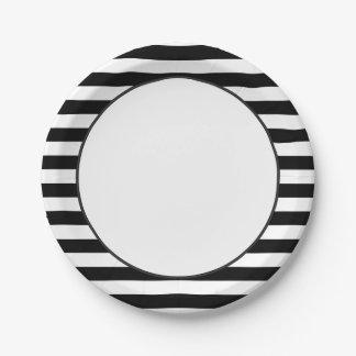 Modelo el | de la raya blanco y negro plato de papel de 7 pulgadas