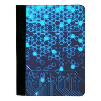Modelo electrónico azul fresco del hexágono de la