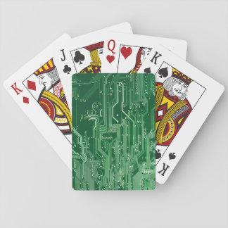 modelo electrónico verde del ordenador de placa de baraja de póquer