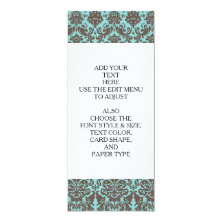 """Modelo elegante azul y del Umber del damasco Invitación 4"""" X 9.25"""""""