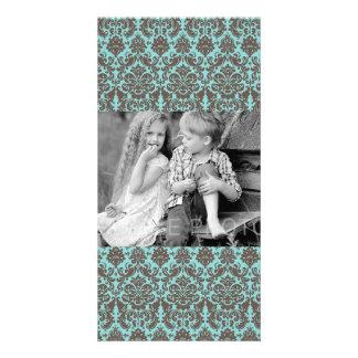 Modelo elegante azul y del Umber del damasco Tarjeta Personal Con Foto