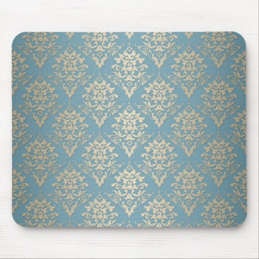 Modelo elegante azul y poner crema del damasco tapete de raton