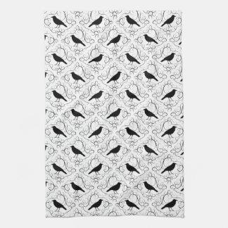 Modelo elegante blanco y negro del cuervo toallas de cocina
