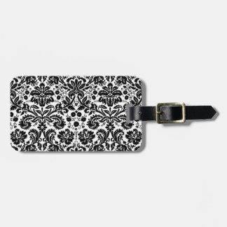 Modelo elegante blanco y negro del damasco etiquetas maleta