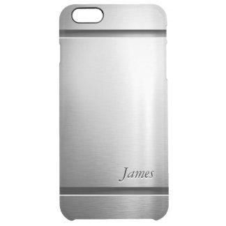 Modelo elegante de la mirada del acero inoxidable funda clearly™ deflector para iPhone 6 plus de unc