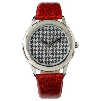 modelo elegante de la moda del houndstooth reloj
