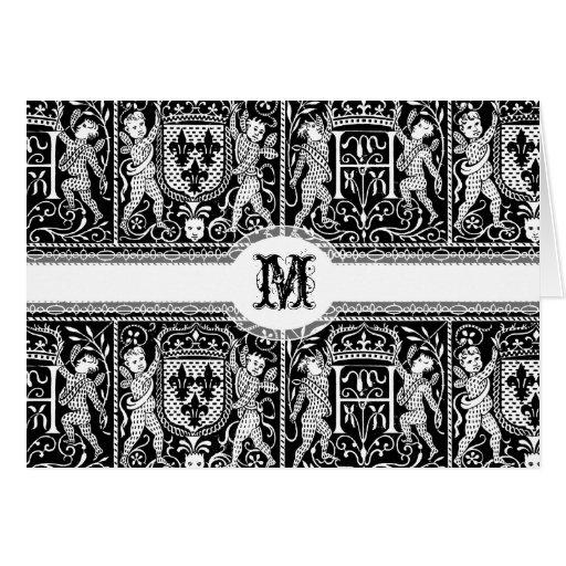 Modelo elegante de la pompa medieval del tarjeta de felicitación