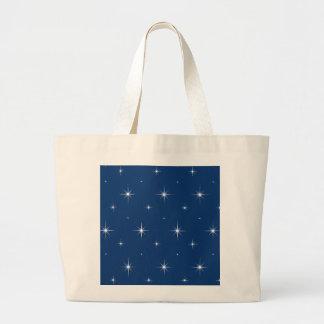 Modelo elegante de las estrellas azules y brillant bolsa lienzo