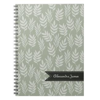 Modelo elegante de las hojas de la verde salvia note book