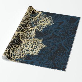 Modelo elegante de los azules marinos del cordón papel de regalo