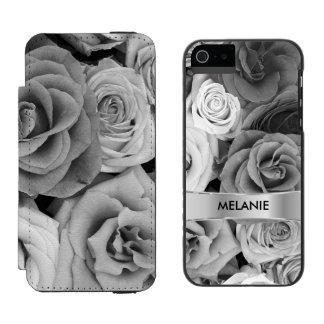 Modelo elegante de los rosas grises y blancos funda billetera para iPhone 5 watson