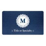 Modelo elegante del azul del monograma del cordón tarjeta de visita