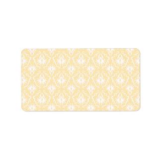 Modelo elegante del damasco. Color ligero del oro Etiquetas De Dirección
