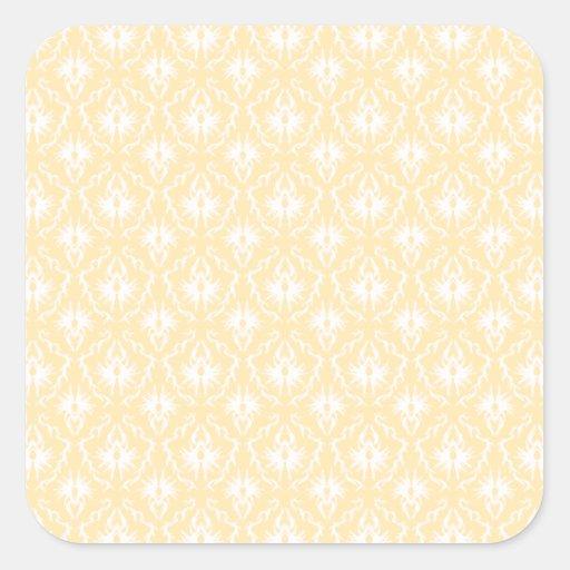 Modelo elegante del damasco. Color ligero del oro Pegatinas Cuadradases