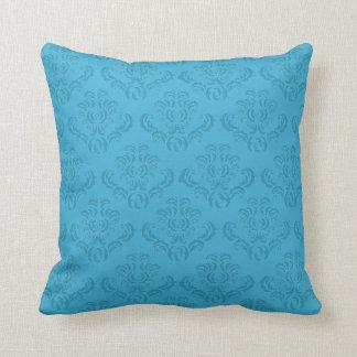 Modelo elegante del damasco de la turquesa almohada