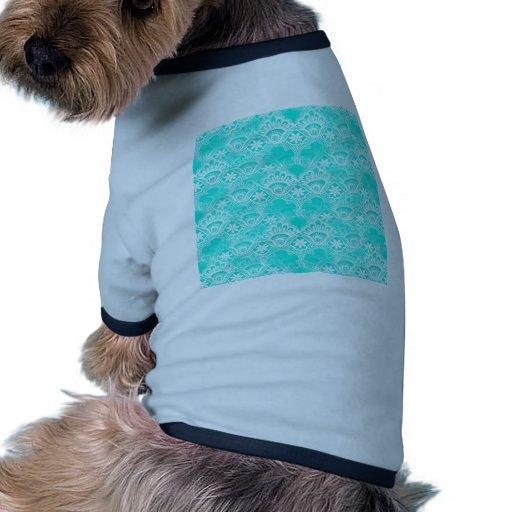 Modelo elegante del damasco del cordón de la turqu camiseta de perrito