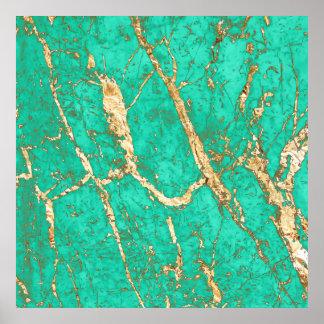 Modelo elegante del mármol de la turquesa del oro póster